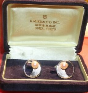 Vintage Japan MIKIMOTO Sterling Silver & White Pearl Cufflinks Cased