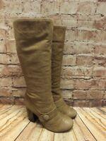 Womens Schuh Light Brown Leather Mid Calf Zip Up High Heel Boots Size UK 5 EU 38