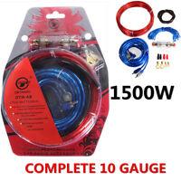 1500W Power Complete 10 Gauge Amplifier Cable Subwoofer Wiring Car Van Speaker
