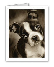 Boston Terrier Puppy note cards by watercolor artist Dj Rogers