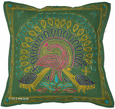 """Green 16"""" Cushion Pillow Cover Peacock Embroidered Cotton Throw Indian Decor"""