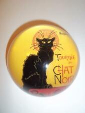 Le Chat Noir Black Cat Glass Dome Paperweight in Gift Box by Steinlen