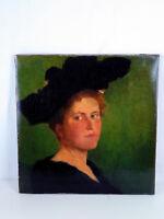 Herrliches Portrait einer Dame mit Hut unsigniert umkreis Schollemaler um 1900