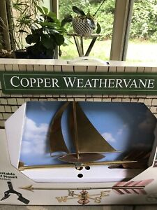 Good Directions Brass and Copper Sailboat Cottage Weathervane Roof Mount NIB