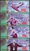 RUSSIA SET 4 POLYMER 100 RUBLES 2018 FIFA WORLD CUP FANTASY COLLECTION