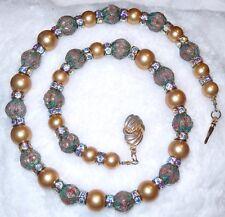 Vintage Chinese Cloisonne Bead Glass Pearl Necklace Aurora Bourealis Rhinestone