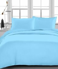 """Fitted Sheet , 1000 TC, Drop 15"""" Inch, Queen Size - Light Blue Solid"""