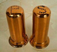 Vintage Copper Salt & Pepper Shakers S & P Holes Mid-Century Patina Table Decor