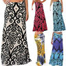 Womens Summer Boho Print Long Maxi Dress Casual Beach Waist Skirt Sundress I