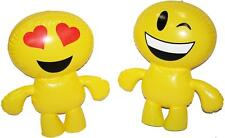 2 YELLOW EMOJI 24 IN INFLATABLE CHARACTERS inflates blowup novelty toys emojis