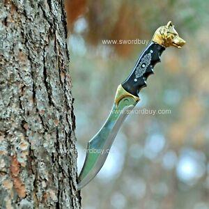 Turkish Wolf Head Knife, Ottoman Dagger, Handmade Curved Dagger