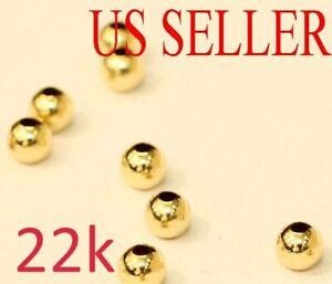 1pc  22k  yellow gold 2mm round polish loose  bead  2MM
