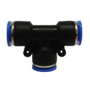 Equal Tee Connector Pneumatic Push-In Fitting for Air. Sizes 4, 6, 8, 10, 12mm