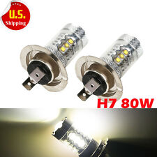 2-Pack H7 80W LED Front Fog DRL Driving Car Head Light Bulbs White Super Bright