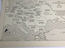 Map: Extermination Of Jews 1941-45 & The Germany Surrender 8th May 1945 Print