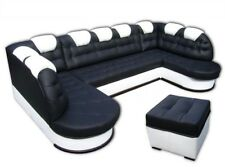 """""""U"""" Corner Sofa Bed + 2x Storage, Real Leather, Made To Measure, Solid"""