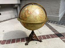 globe terrestre mappemonde pied fonte cerclage laiton E BERTAUX THOMAS  A PARIS
