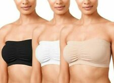 SEAMLESS PADDED BANDEAU BRA, STRETCH COMFORT, STRAPLESS, PULL ON, SIZES S - 3XL