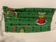 Xmas Christmas Grinch Face Mask,Handmade Cotton Reusable with filter pocket