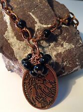 Necklace Raven Pendant with black pearl cluster Artisan handmade USA