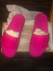 Mens Rubber Neon Pink fuchsia Fendi Vocabulary Slides Sandals Sz: UK 8/US 9 NIB