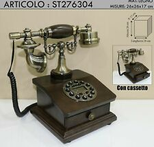 Telefono fisso vintage stile antico cassetto legno telephone colore noce st27630