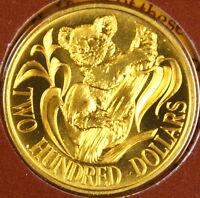 1984 Australia $200 Koala Bear Uncirculated Gold Coin, 22kt In Cardboard Holder