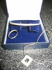 Real sterling solid silver set bangle, ring & necklace NEW & gift boxed