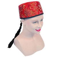 Chinese Mandarin Hat Red Fabric+Plait Fancy Dress Adult