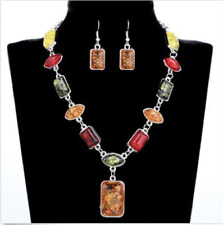Women Vintage Retro Stone Silver Plated Amber African Wedding Jewellery Set #
