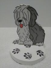 """Pair of Old English Sheepdog Wooden Book Ends 5"""" Tall Di '00 Oes"""