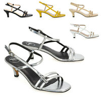 Womens Strappy Low Mid Heeled Sandals Ladies Square Peep Toe Buckle Strap Shoes