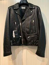 SAINT LAURENT Jacket Motorcycle Fringed In Black Lamb Leather, M