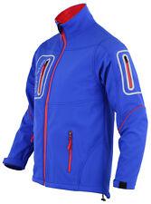 Mens Blue Softshell Pro Workwear Jacket Long Sleeves 4 Zip Pockets Size XL