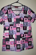 Scrub Top Breast Cancer Awareness Pink Ribbon Hearts Size Small S