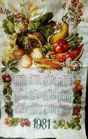 Vintage 1981 Tea Towel Calendar Wall Hanging DISH Coffee Tole Fruit Veggies Food