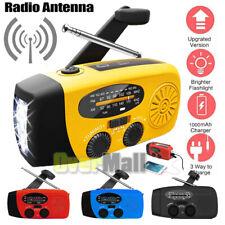 Solar Hand Crank AM FM/NOAA Weather Radio 3 LED Flashlight USB Charger Emergency