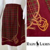 Vintage RALPH LAUREN Equestian Skirt Size 8 Knee Length Bridle Wool Lined Pencil