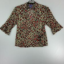 Russell Kengo Womens Cross Tie At Waist Top XL Black Tan Red Leopard Bell Sleeve