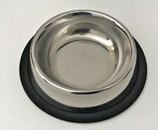 4 X Pet Food/Water Bowl/Dish-Small Cat/Dog-Anti-skid/Rubber-Stainless Steel 8 Oz