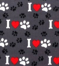 """DOG OR CAT PAW PRINTS, BONES & RED HEARTS ON GREY FLEECE MATERIAL 2 YDS 60 X 72"""""""