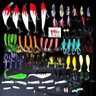 100pcs/Lot Kinds of Fishing Lures Crankbaits Hooks Minnow Bass Bait Tackle + Box