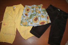 Old Navy Gymboree Girls sz 5 Corduroy Pants Skirt Sunflower 3 piece lot