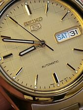 New Seiko 5 AUTOMATIC Watches GOLD/DIAL Date/Days.36mm(free gift)