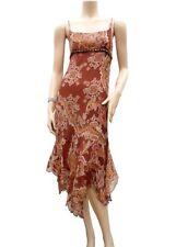 Robe 1 2 3 100% Soie T 36 S 1 Graphique Perles Tunique été Fête Silk Dress
