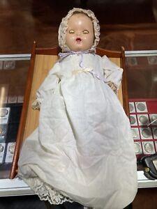 """Vintage Composition Baby Doll ~ Cloth Body ~ 18""""~ Molded Hair Sleep Eyes"""