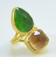 Ottoman Gems semi precious gem stone ring gold Cat eye and Zircon handmade
