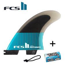 FCS II Performer PC X-Small Grom Tri Fins + FREE Leash String & Wax Bit Bar