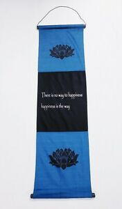 "Happiness Inspirational Cotton Wall Hanging Teal & Black Lotus Design 14"" x 48"""