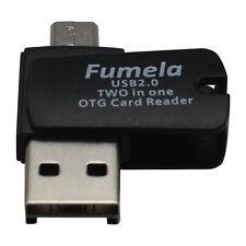 SCHWARZ 2 in1 USB 2.0 TF/Micro SD Buchse auf Micro-USB-Stecker OTG Kartenleser